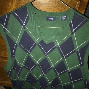 Izod Green, Blue and White Argyle Sweater Vest